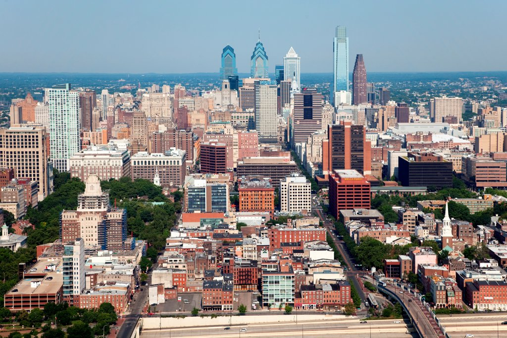Stock Photo: 4017-3637 Philadelphia, Pennsylvania Skyline from over the Delaware River