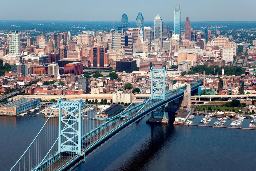 Stock Photo: 4017-3639 Philadelphia, Pennsylvania Skyline from over the Delaware River with the Benjamin Franklin Bridge in the Foreground