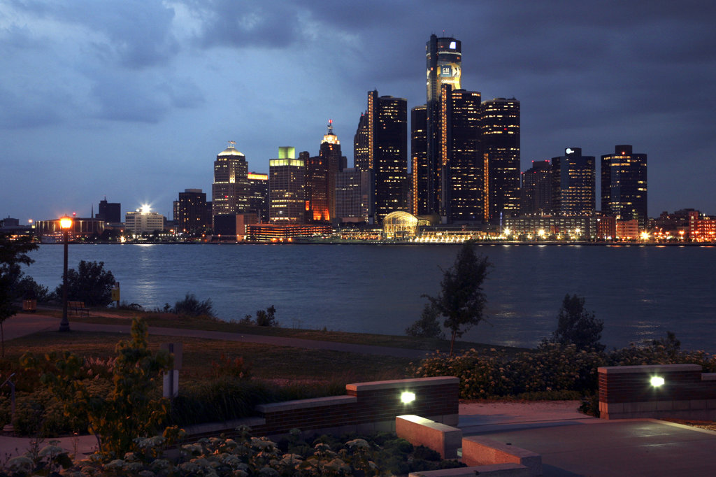 USA,   Michigan,   Detroit,   Skyline at night : Stock Photo