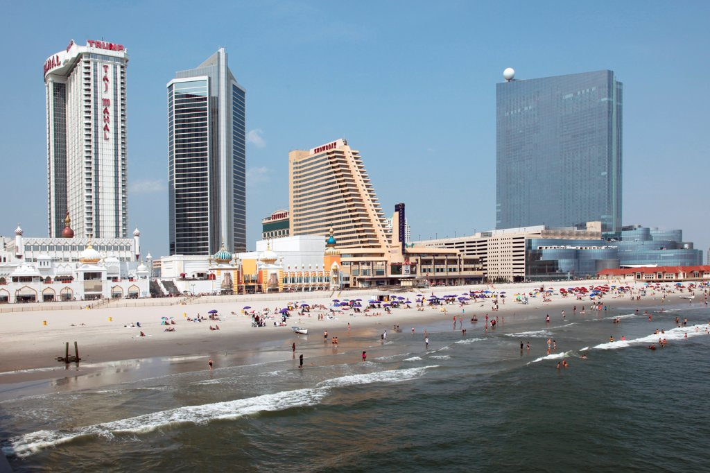 Stock Photo: 4017-3662 USA, New Jersey state, Atlantic City, Skyline from over Atlantic Ocean