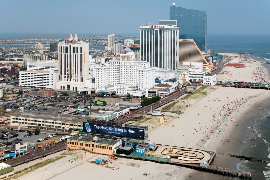 Stock Photo: 4017-3666 USA, New Jersey state, Atlantic City, Skyline from over Atlantic Ocean