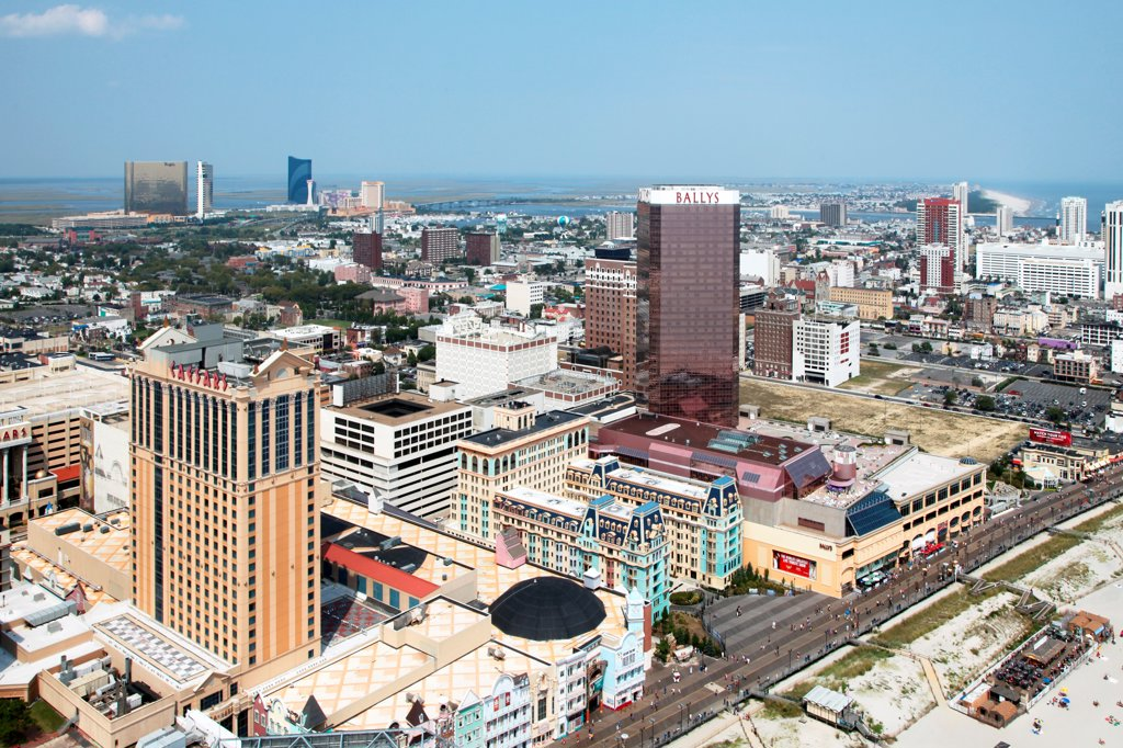 Stock Photo: 4017-3667 USA, New Jersey state, Atlantic City, Aerial view of Downtown
