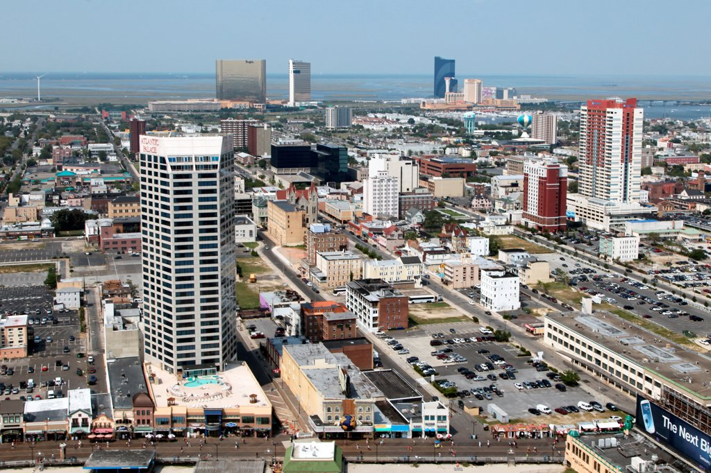 Stock Photo: 4017-3669 USA, New Jersey state, Atlantic City, Aerial view of Downtown