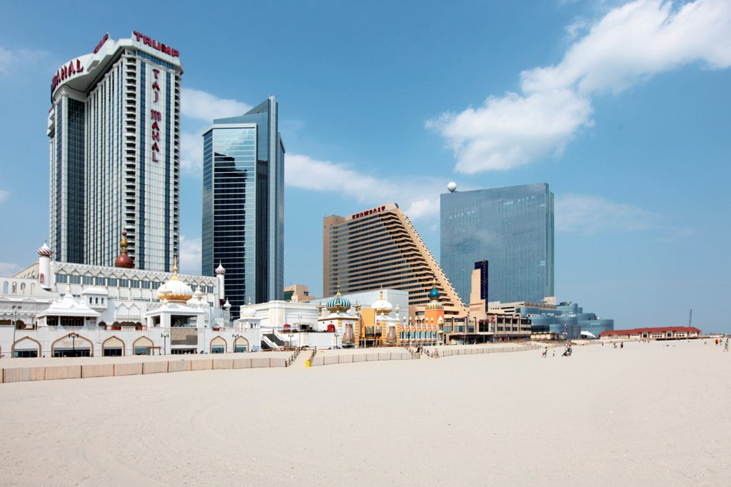 Stock Photo: 4017-3671 USA, New Jersey state, Atlantic City, Taj Mahal, Showboat, and Revel on Atlantic City