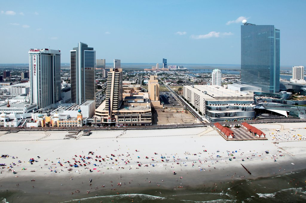 Stock Photo: 4017-3672 USA, New Jersey state, Atlantic City, Taj Mahal, Showboat, and Revel on Atlantic City