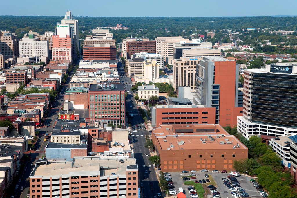 Stock Photo: 4017-3727 USA, Pennsylvania, Wilimington, Delaware, Aerial view of Compton Village