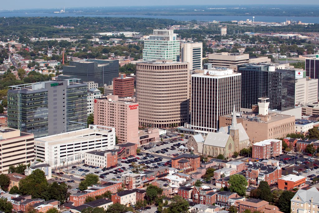 Stock Photo: 4017-3728 USA, Pennsylvania, Wilimington, Delaware, Aerial view of Downtown