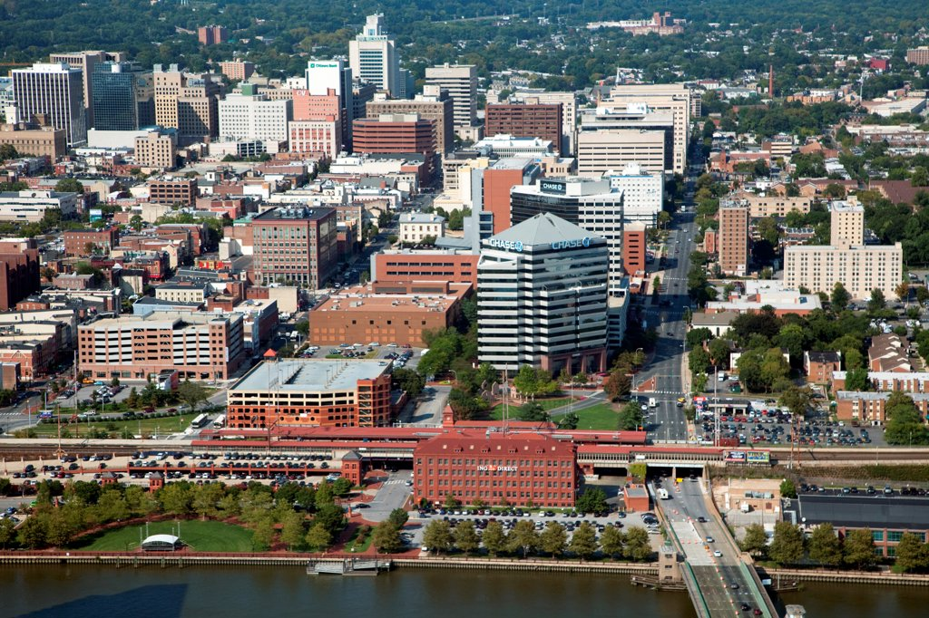 Stock Photo: 4017-3729 USA, Pennsylvania, Wilimington, Delaware, Aerial view of Downtown with Christina Riverfront in Foreground