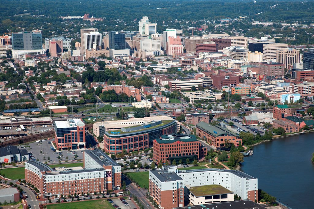 Stock Photo: 4017-3730 USA, Pennsylvania, Wilimington, Delaware, Aerial view of Downtown with Christina Riverfront in Foreground