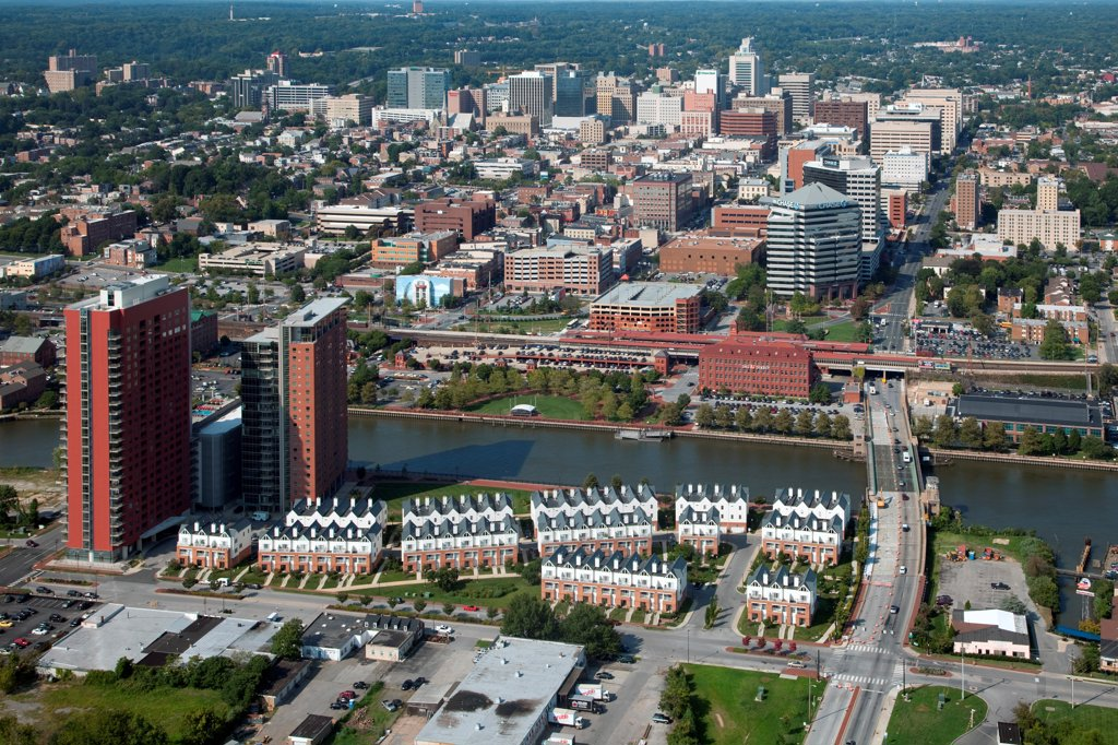 Stock Photo: 4017-3731 USA, Pennsylvania, Wilimington, Delaware, Aerial view of Downtown with Christina Riverfront in Foreground