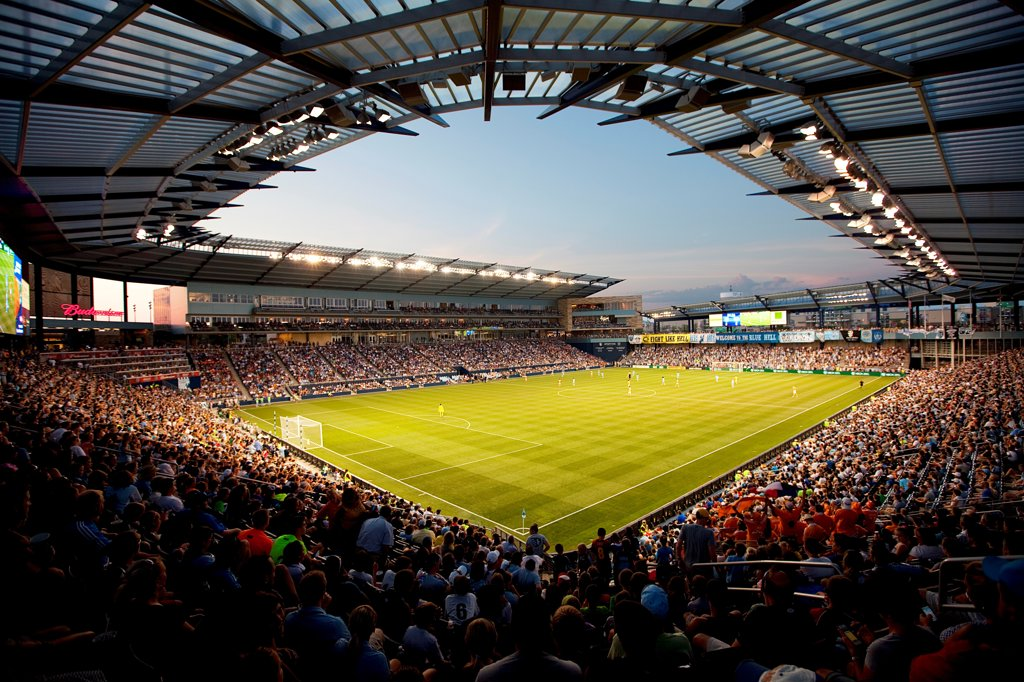 USA, Missouri, Kansas City, Livestrong Sporting Park, Home of Sporting Kansas City of Major League Soccer in KCK : Stock Photo