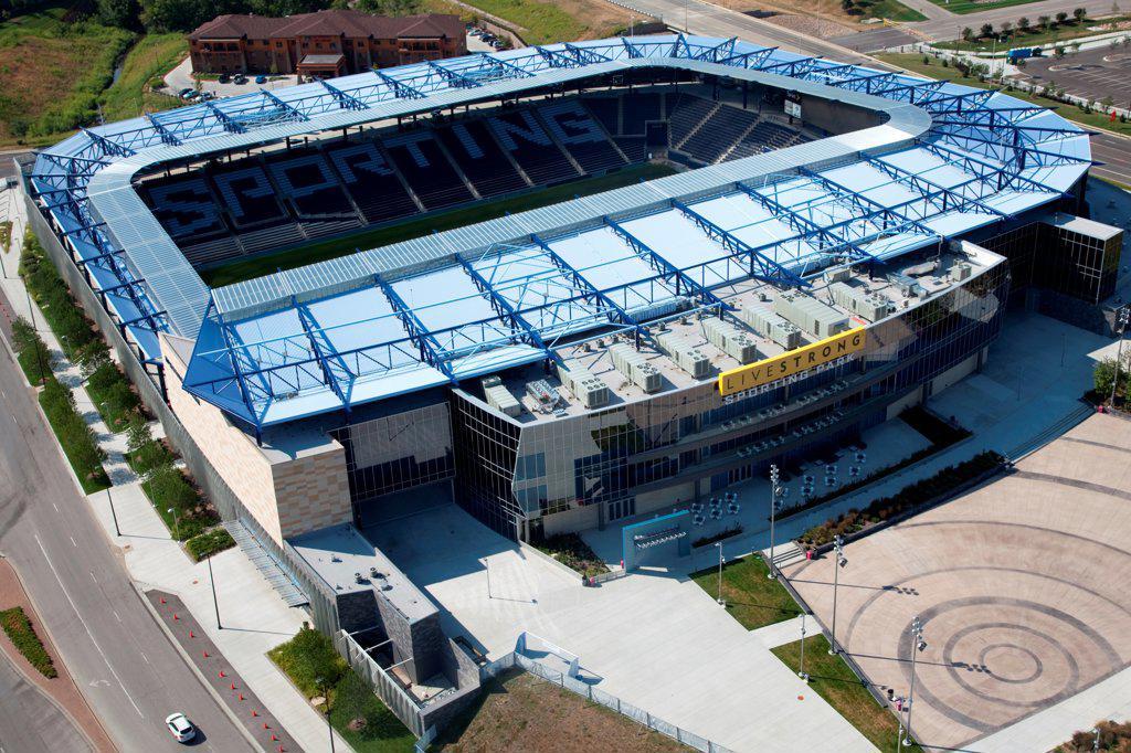 USA, Missouri, Kansas City, Livestrong Sporting Park, home of Sporting Kansas City of Major League Soccer in KCK : Stock Photo