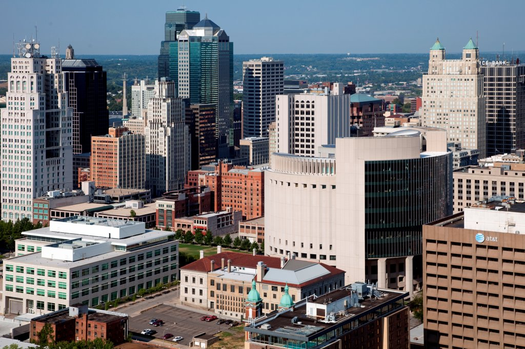 Stock Photo: 4017-3747 USA, Missouri, Kansas City, Aerial of northeast area of Downtown Loop