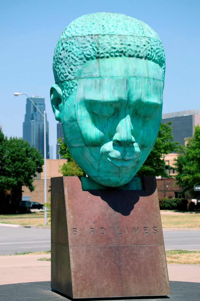 Stock Photo: 4017-3768 USA, Missouri, Kansas City, Charlie Parker Memorial Plaza located in 18th and Vine Historic Jazz District