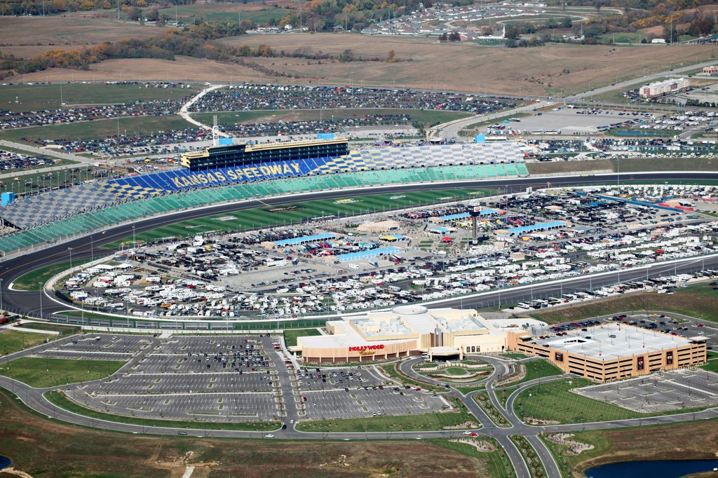 Stock Photo: 4017-3769 USA, Missouri, Kansas City, Aerial view of Kansas Speedway and Hollywood Casino