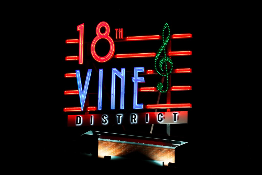 Stock Photo: 4017-3775 USA, Missouri, Kansas City, Giant neon lights 18th and Vine District sign