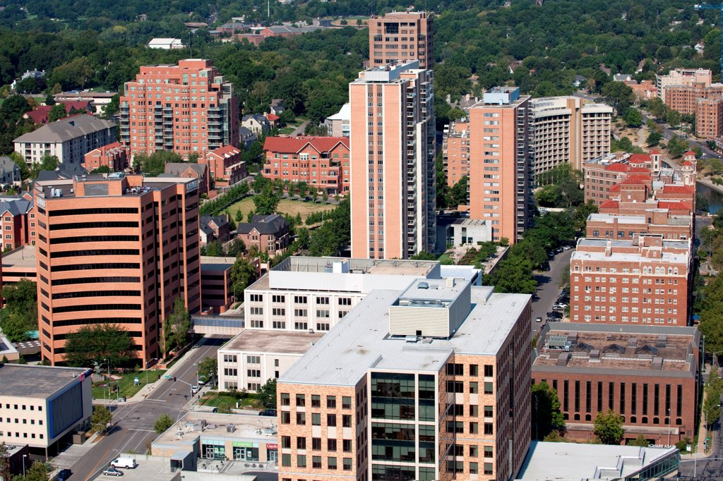 Stock Photo: 4017-3778 USA, Missouri, Kansas City, Aerial view of south side of Country Club Plaza district
