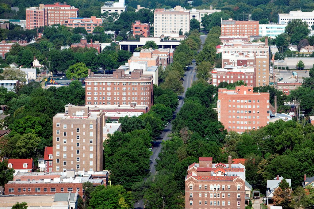 Stock Photo: 4017-3789 USA, Missouri, Kansas City, Aerial view of Armor Blvd in Hyde Park in Midtown