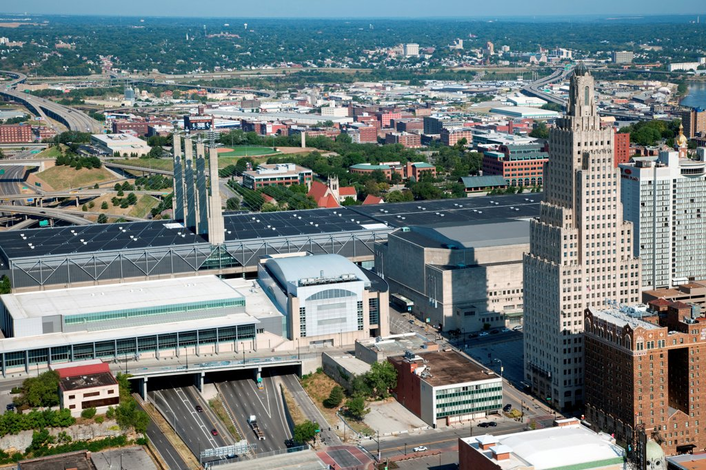 Stock Photo: 4017-3795 USA, Missouri, Kansas City, Aerial view of Kansas City Convention Center which crosses over interstate 670 in downtown