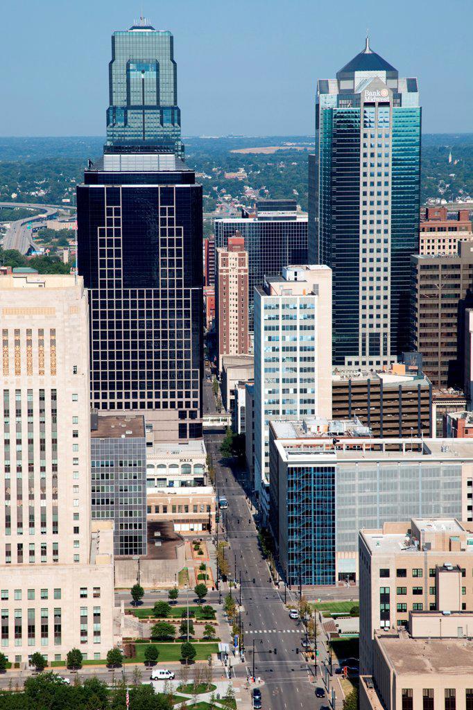 USA, Missouri, Kansas City, 12th Street in Downtown : Stock Photo