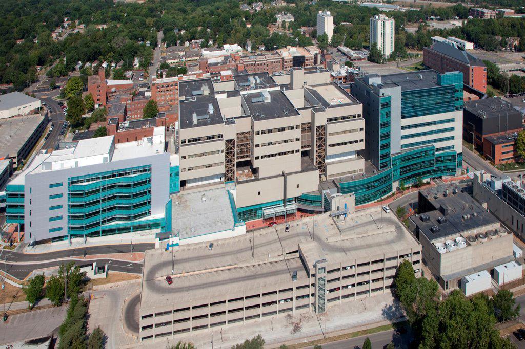 USA, Missouri, Kansas City, Aerial view of campus of University of Kansas Hospital : Stock Photo