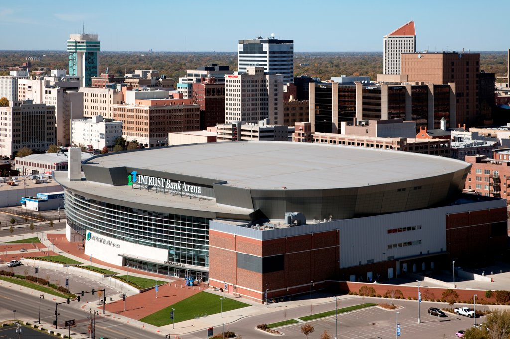 Stock Photo: 4017-3842 USA, Kansas, Wichita, Aerial of Intrust Bank Arena