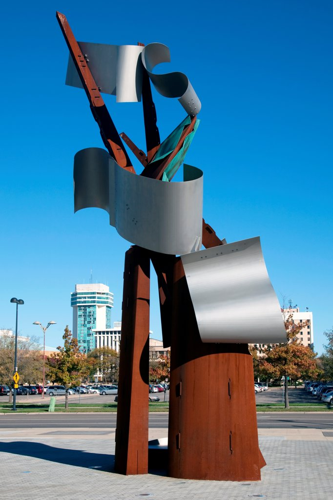 Stock Photo: 4017-3844 USA, Kansas, Wichita, Waterwalk Sculpture designed by Albert Paley in Waterwalk District