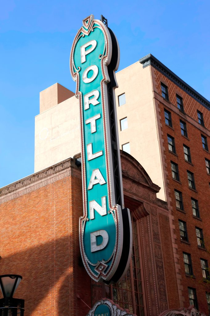Large vertical sign at the Portland Center for Performing Arts : Stock Photo