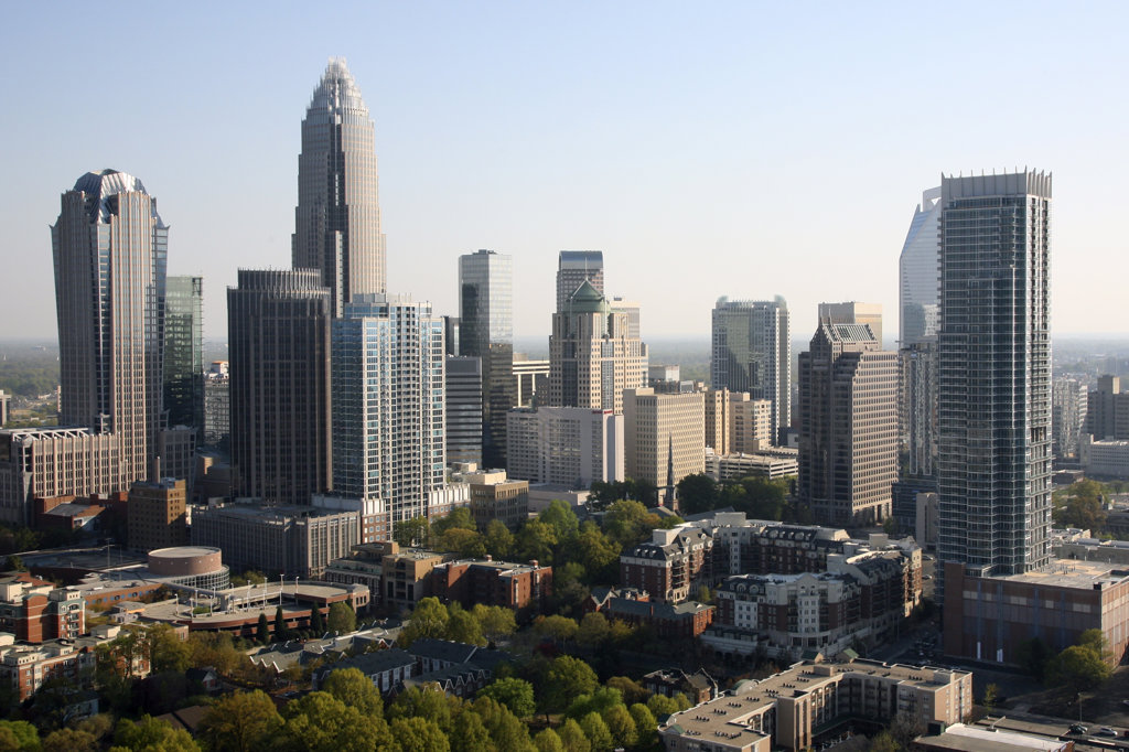 Stock Photo: 4017-522 Aerial of Charlotte Skyline