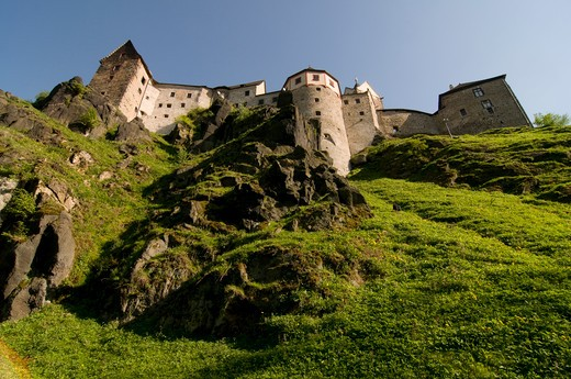 Stock Photo: 4020-124 Low angle view of a castle, Loket Castle, Loket, Sokolov, Karlovy Vary, Czech Republic