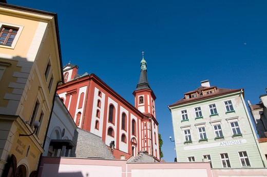 Church in a city, Loket, Sokolov, Karlovy Vary, Czech Republic : Stock Photo