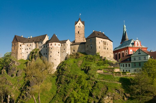 Low angle view of a castle on a hill, Loket Castle, Loket, Sokolov, Karlovy Vary, Czech Republic : Stock Photo