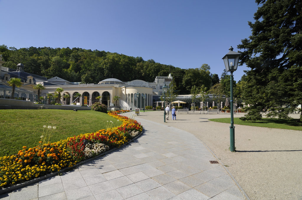 Garden with a spa resort in the background, Baden, Lower Austria, Austria : Stock Photo