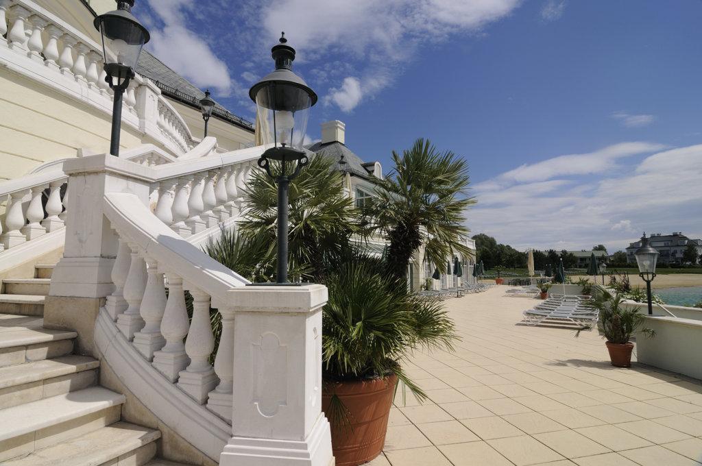 Staircase of a golf course, Fontana Golf Course, Austria : Stock Photo