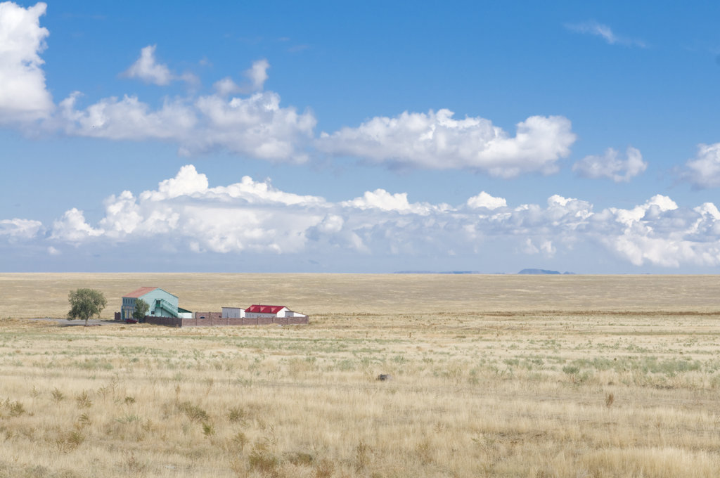 Kazakhstan, Tamagaly Das, Farm in steppe : Stock Photo