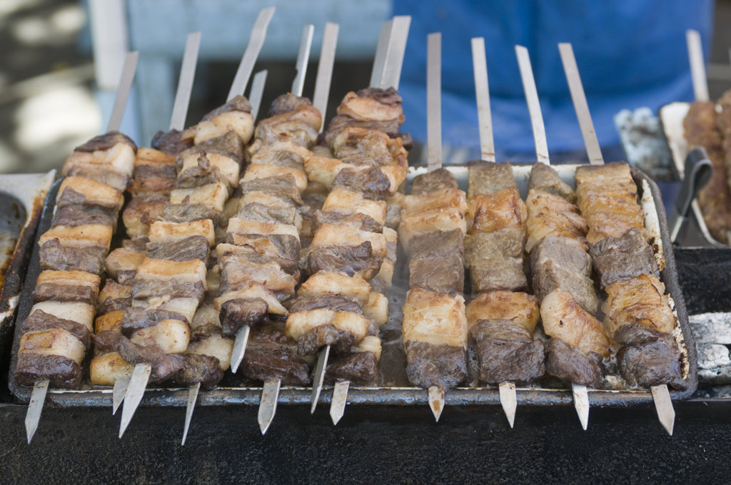 Tajikistan, Khojand, barbecue specialties : Stock Photo