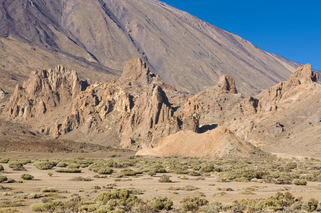 Rocks formations in a desert, Pico De Teide, Tenerife, Canary islands, Spain : Stock Photo