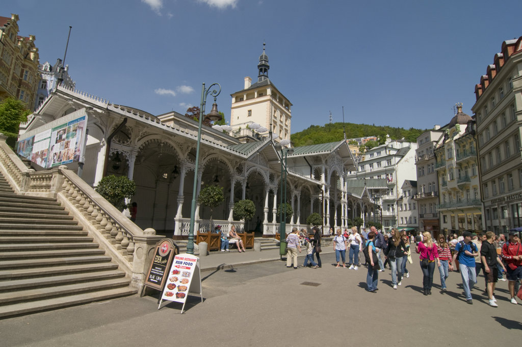 People in a market, Karlovy Vary, Czech Republic : Stock Photo