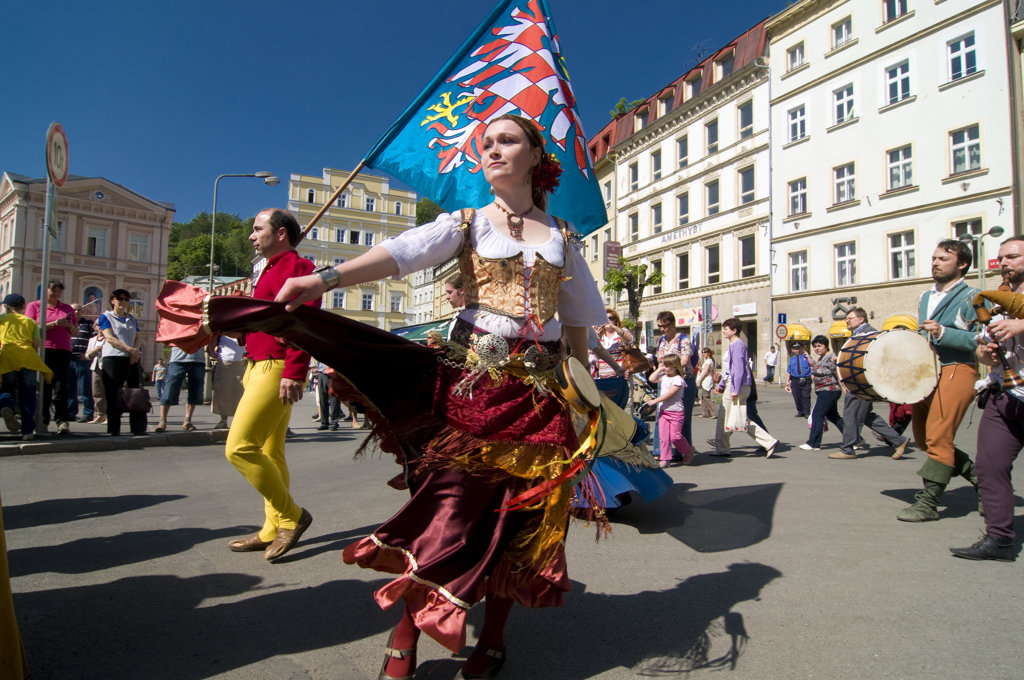 Performers in a carnival, Karlovy Vary, Czech Republic : Stock Photo