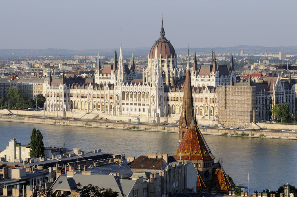 Parliament building at the waterfront, Hungarian Parliament Building, Danube River, Budapest, Hungary : Stock Photo