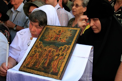 Stock Photo: 4023-142 Greek Orthodox Ascension Day ceremony at the Ascension Chapel, Mount of Olives, Jerusalem, Israel