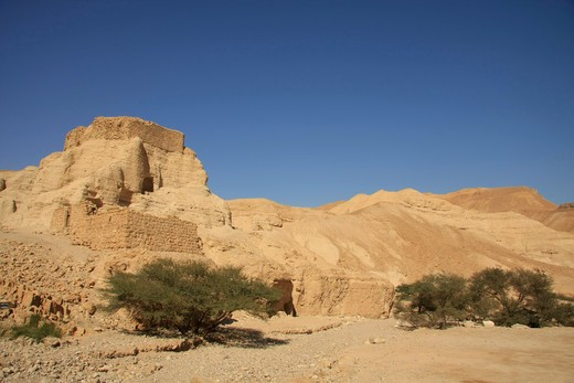 Stock Photo: 4023-171 Ruins of a fortress in a desert, Zohar Fortress, Wadi Zohar, Judean Desert, Israel