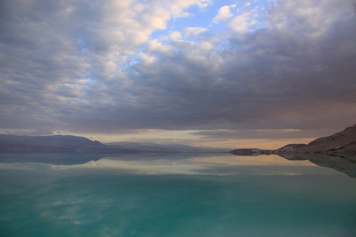 Salt lake at sunset, Dead Sea, Israeli-Jordanian Border : Stock Photo