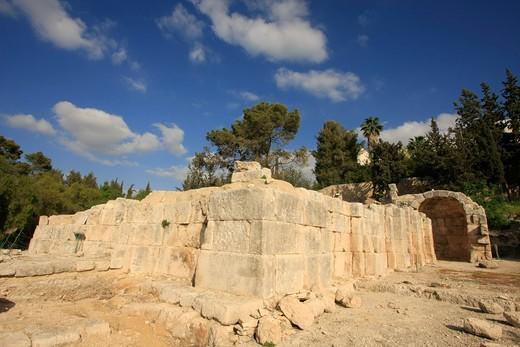 Ruins of a basilica, Byzantine-Crusader Basilica, Emmaus-Nicopolis, Shephelah, Israel : Stock Photo