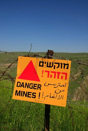 Danger mines sign on Mount Susita, Golan Heights, Israel : Stock Photo