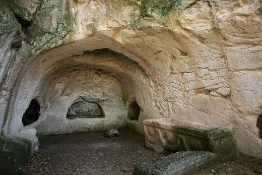 Cave of coffins, Beit She'arim National Park, Alonim Hills, Israel : Stock Photo