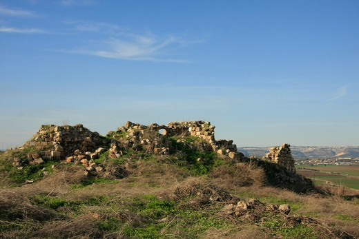 Ruins at an archaeological site, Mount Gilboa, Tel Jezreel, Jezreel Valley, Israel : Stock Photo