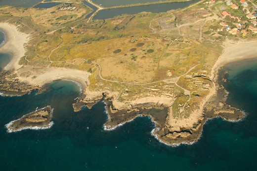 Aerial view of archaeological site at a coast, Tel Dor, Carmel Coast, Israel : Stock Photo