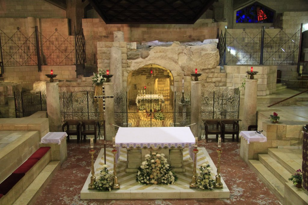 Stock Photo: 4023-301 Grotto of the Annunciation at the Church Of The Annunciation, Nazareth, Lower Galilee, Israel