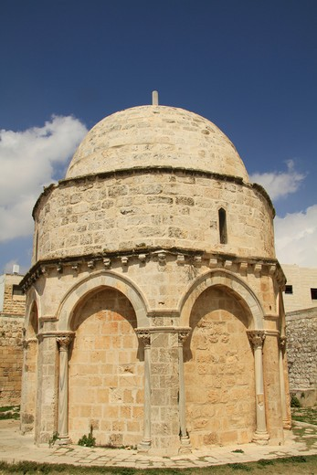 Old chapel in a city, Chapel Of The Ascension, Mount Of Olives, Jerusalem, Israel : Stock Photo